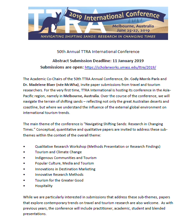 TTRA International Conference Call For Papers